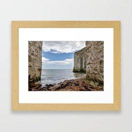 White Framed Cliffs - Botany Bay, England Framed Art Print