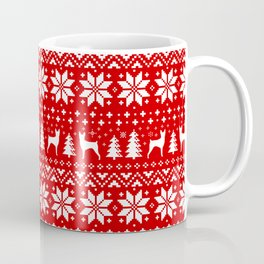 Toy Fox Terrier Silhouettes Christmas Sweater Pattern Coffee Mug