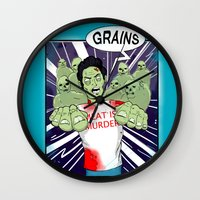 vegetarian Wall Clocks featuring Once a vegetarian... by OneAngryBear