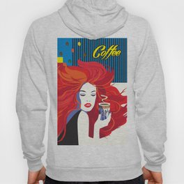 """""""Beautiful Fashion Woman and Coffee Cup"""" POP-ART poster, Retro, Design Hoody"""
