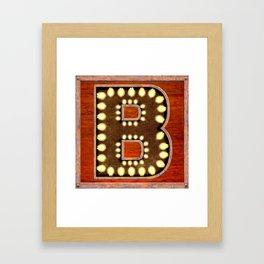 Monogram Letter B - Vintage Style Lighted Sign Framed Art Print