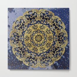 Night Sky Mandala Metal Print