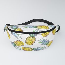 Tropical Green Teal Yellow Watercolor Pineapple Pattern Fanny Pack