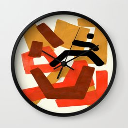 Yellow Orange Brown Fun Colorful Mid Century Modern Abstract Painting Shapes Pattern Wall Clock
