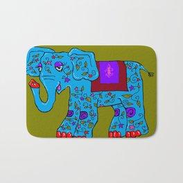 Blue Elephant with Pink Fleur de Lis Bath Mat