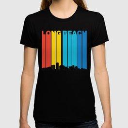Retro 1970's Style Long Beach California Skyline T-shirt