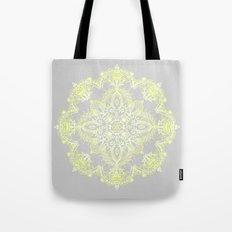 Pale Lemon Yellow Lace Mandala on Grey Tote Bag