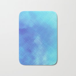 Turquoise Seas Abstract Watercolor - Crosshatched Bath Mat