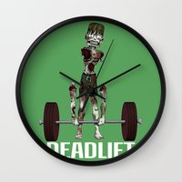 crossfit Wall Clocks featuring Crossfit Zombie by RonkyTonk doing Deadlift by RonkyTonk