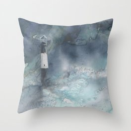 Night Storm at Tybee Lighthouse Throw Pillow