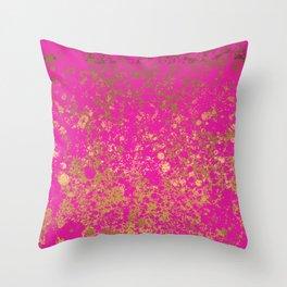 Magenta and Gold Patina Design Throw Pillow
