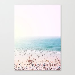 Crowded Beach at Sunset Canvas Print