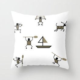 Mural cave man primeval stone age gift Throw Pillow