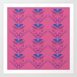 Luxury mandalas pink vintage blue Art Print