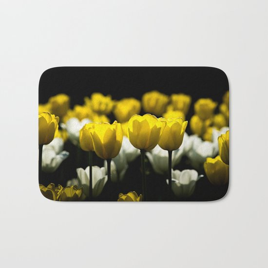 Tulips Yellow And White Bath Mat