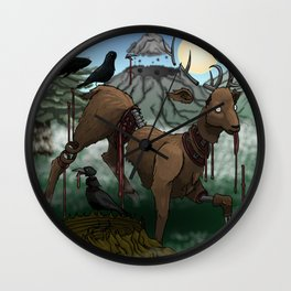 Surreal cut up deer with crows in forest Wall Clock