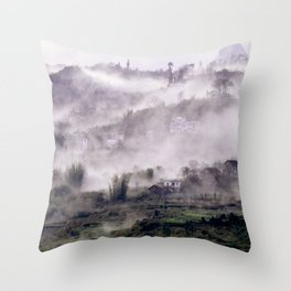 FOGGY FOREST in the VIETNAMESE MOUNTAIN Throw Pillow