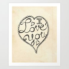 I Love You Sketch Art Print