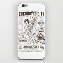 The Enchanted City 2018 Poster, black and white iPhone Skin