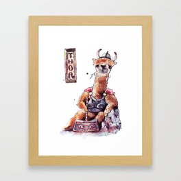 Mighty Llama Thor Framed Art Print