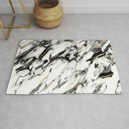 Classic White Marble Gold Foil Glam #1 #marble #decor #art #society6 Rug