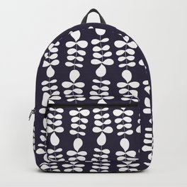 Scandinavian folk minimalistic leaf pattern - white on dark grey Backpack