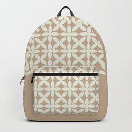 Pantone Cannoli Cream Square Petal Pattern on Pantone Hazelnut Backpack