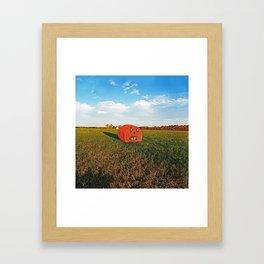 Pumpkin Hay Bale Framed Art Print