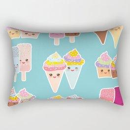 Kawaii cupcakes, ice cream in waffle cones, ice lolly Rectangular Pillow