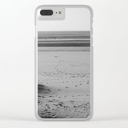 Beach in winter with some walkers Clear iPhone Case
