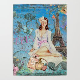 Paris - mon amour - Fashion Girl In France Eiffel tower Nostalgy - French Vintage Poster
