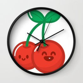HyperKawaii happy cherry Wall Clock