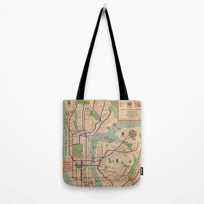 New York City Metro Subway System Map 1954 Tote Bag