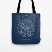 doctor Tote Bags featuring Doctor Who: Wibbly Wobbly by Sof Andrade