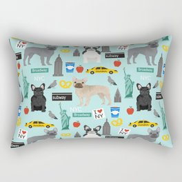 French Bulldog new york city tourist big apple dog breed pet friendly designs Rectangular Pillow