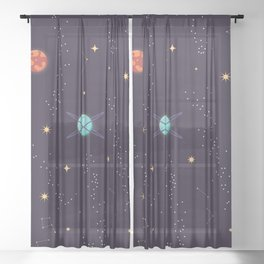 Universe with planets and stars seamless pattern, cosmos starry night sky 002 Sheer Curtain