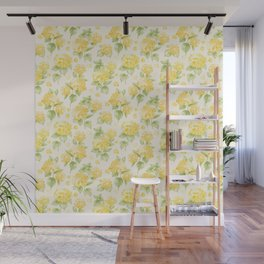 Modern  sunshine yellow green hortensia flowers Wall Mural