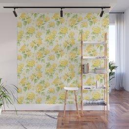 Modern  sunshine yellow green hortensia flowers Wall Mural