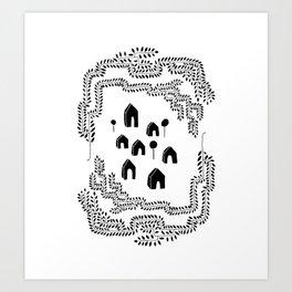 Line Vine Border Community Illustration Art Print