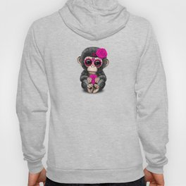 Pink Day of the Dead Sugar Skull Baby Chimp Hoody