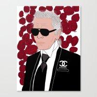 karl lagerfeld Canvas Prints featuring Karl Lagerfeld by Stephanie Jett