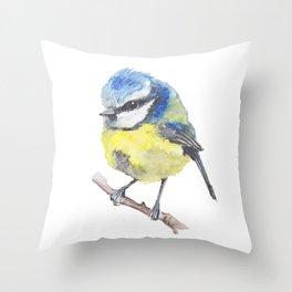 Fluffy Bluetit Throw Pillow