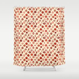 Christmas Ornaments Red Pink Beige Pattern Shower Curtain