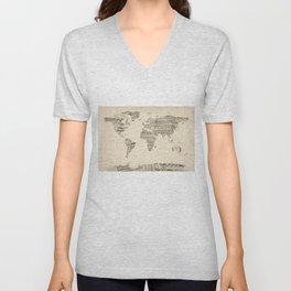 Old Sheet Music World Map Unisex V-Neck