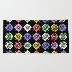 Pastel Flowers Pattern (On Black) Beach Towel
