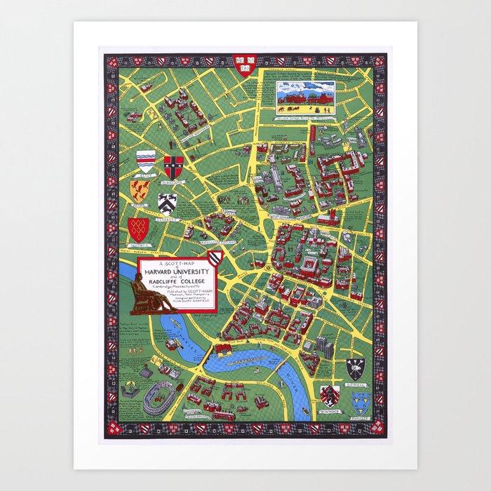HARVARD University map CAMBRIDGE Kunstdrucke