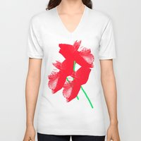 poppies V-neck T-shirts featuring Poppies by Vitta