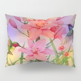 Painterly Hummingbirds And Flowers Pillow Sham