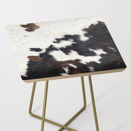 Brown Cowhide Side Table