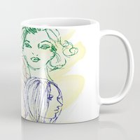 girls Mugs featuring Girls by Duru Eksioglu